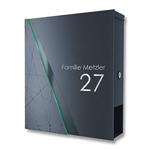 Metzler Massiver Design Briefkasten in Anthrazit RAL 7016 - Briefkasten mit integriertem Zeitungsfach & Edelstahl Front-Applikation - Wandbriefkasten mit Gravur - Größe 35,5 x 43,5 x 10 cm