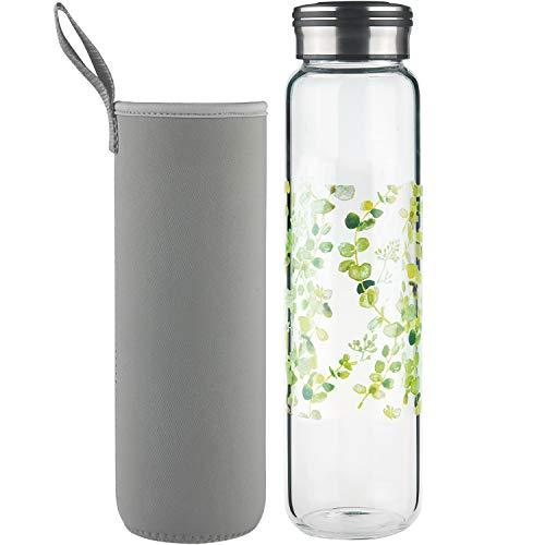 Cleesmil Sport Trinkflasche Glas Wasserflasche 1000 ml / 1 Liter BPA Free Glasflasche mit Neoprenhülle (runde Blätter)
