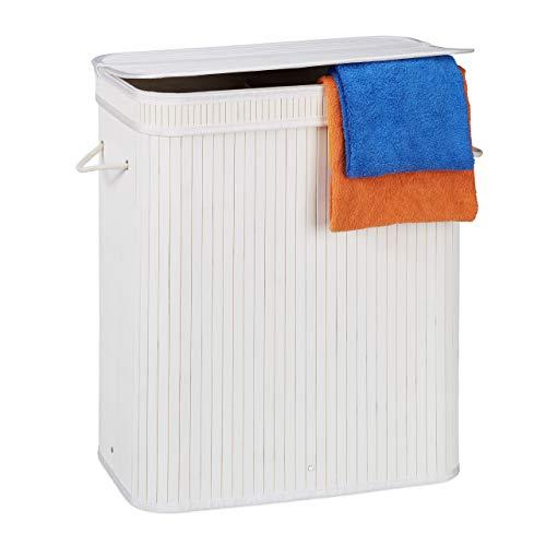 Relaxdays Cesto Ropa Sucia Rectangular con 2 Compartimentos, Cubo Colada, Canasta con Tapa, Bambú, 95 L, Blanco