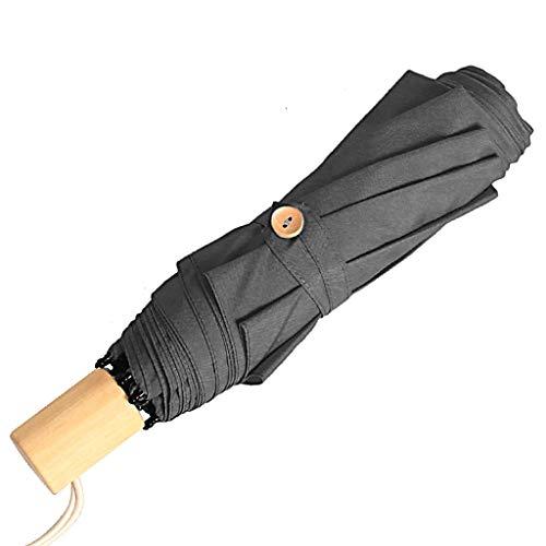 Reisparaplu Compact Reisparaplu - Winddichte versterkte overkapping met ergonomisch houten handvat Handmatige paraplu in meerdere kleuren