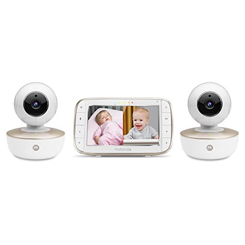 """Motorola MBP855CONNECT-2 Portable 5"""" Video Baby Monitor with Wi-Fi Viewing, 2 Rechargeable Cameras, Remote Pan, Tilt, Zoom, Two-Way Audio, and Room Temperature Display Monitors"""
