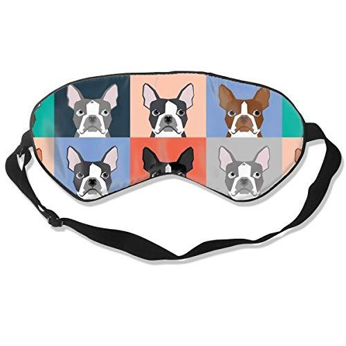 Premium Super Zacht Ademend Oogmasker met Verstelbare Band - Snoepriet - Licht Blokkerend Slaapmasker voor Reizen, Nap, Yoga, Meditatie Eén maat Boston Terriers Tegel Bulldog Hond Set Patroon