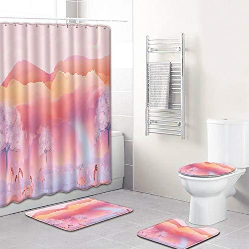 ETH Sunset Flamingo patroon douchegordijn vloermat badkamer wc-bril vierdelig tapijt waterabsorptie vervaagt niet veelzijdig comfortabel badkamer mat kan machine gewassen duurzaam