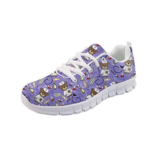 Nopersonality Damen Sportschuhe Straßenlaufschuhe Atmungsaktiv Mesh Stilvoll Nurse Bear Sneakers Gym Fitness Leichte Schuhe - Cartoon Krankenschwester Bär (Violett,Größe 39)