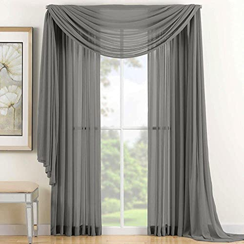 """Jasmine Linen 2 Piece Sheer Luxury Curtain Panel Set for Kitchen/Bedroom 84"""" Inches Long, Variation of Colors (Silver Gray)"""