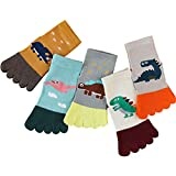 5 Pair Kids Toe Socks, Cartoon Five Finger Crew Ankle Sock Breathable Running Toe Socks for 0-10Y Boys and Girls