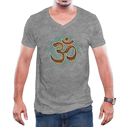 Om Mandala Regalo Yoga Grå V-ringad T-shirt för herr Size XXL