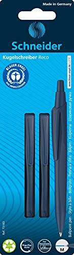 Schneider Reco - Bolígrafos de punta redonda (2 unidades, plástico reciclado), color azul