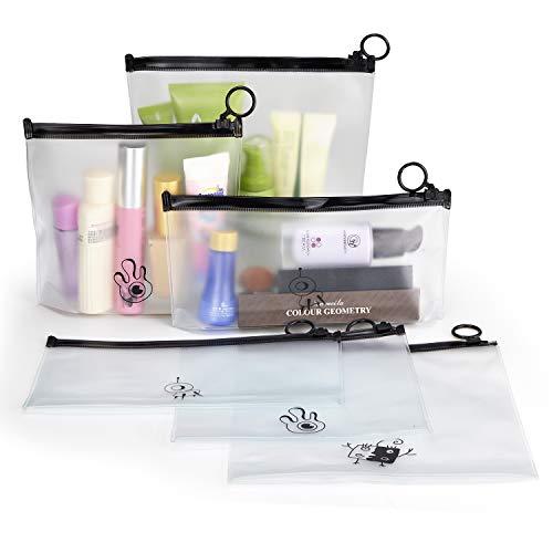Heatigo Kulturbeutel transparent, Flugzeug PVC Kosmetiktasche wasserdicht Make-up Tasche Kosmetiktasche für Koffer,Kosmetikbeutel durchsichtig Reise Set Kulturtasche (6 Stück)