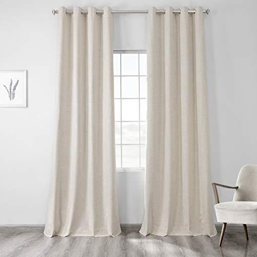 HPD Half Price Drapes FLCW-CBO192-96-GR Vintage Thermal Cross Linen Weave Max Blackout Grommet Curtain (1 Panel), 50 X 96, Natural Light Beige
