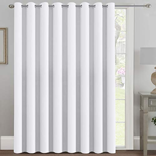 H.VERSAILTEX Patio White Curtains 100x84 Inches for Sliding Door Extral Wide Blackout Curtain Panels Thermal Insulated Room Divider - Grommet Top, 7' Tall by 8.5' Wide