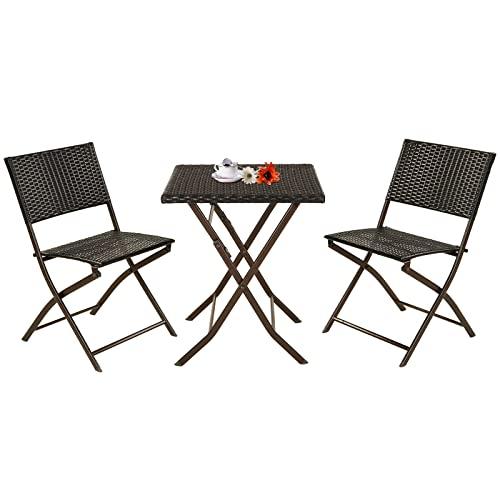 Grand patio Parma Rattan Patio Bistro Set, Weather Resistant Outdoor Furniture...