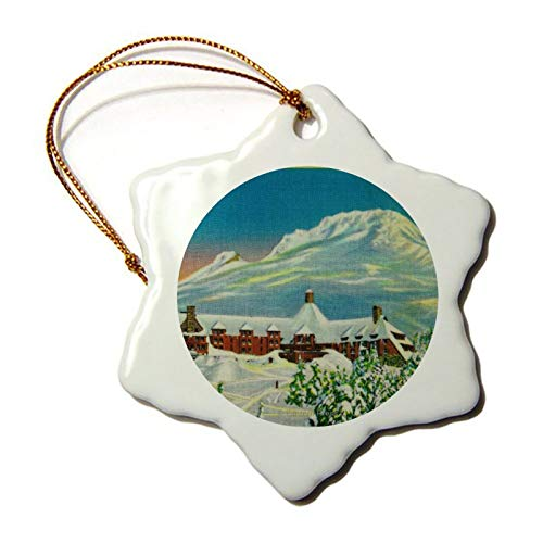 3 Inch Christmas Ornament, Timberline Lodge In Winter At Mt Hood Snowflake Ornaments Christmas Tree Decorative Hanging, Keepsake Gift Memorial Peace & Happiness Christmas Decorations