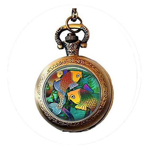 aaaaAA Halskette mit Fisch-Anhänger Glasfliese Schmuck Fischschmuck Fischschmuck Silberne Taschenuhr Halskette Silberschmuck