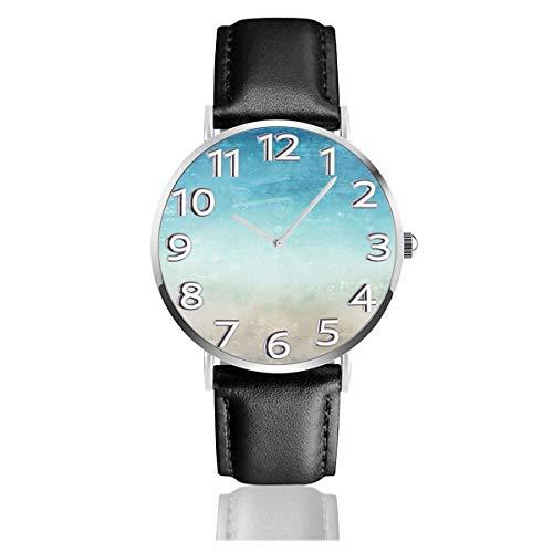 Abstract Sea Watches Orologio da polso al quarzo con cinturino in Pelle di qualità durevole con cinturino in Acciaio inossidabile Argento