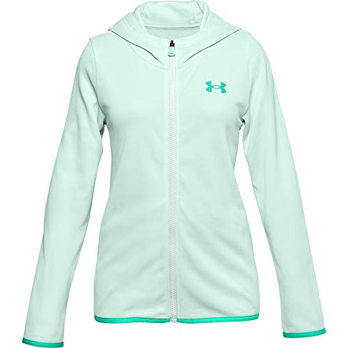 Under Armour Girls' Armour Fleece Full Zip Hoodie , Seaglass Blue (403)/Comet Green , Youth X-Small