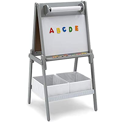 Delta Children Chelsea Double-Sided Storage Easel with Paper Roll and Magnets -Ideal for Arts & Crafts, Drawing, Homeschooling and More, Light Grey/White