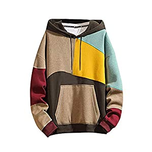 Men's Color Block O-Neck Pullover Casual Hooded Sweatshirt  Hoodie