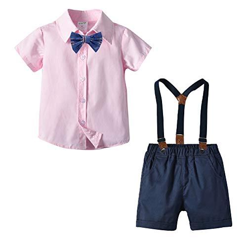 Mud Kingdom Niños Pequeños Traje de Caballero Camisa de Pajarita Shorts de Tirantes Verano Set Rosa 4 Años
