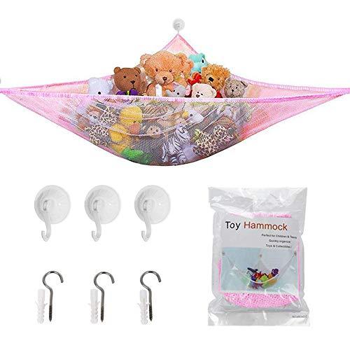 NALCY Amaca a Rete per Giocattoli, per riporre giocattoli, amaca in tessuto di peluche, rete per animali della giungla, bagno, balcone, guardaroba 180 x 120 x 120cm (Rosa)