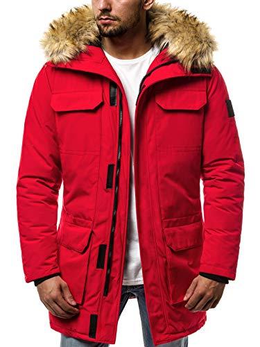 MOODOZ Herren Winterjacke Parka Jacke Kapuzenjacke Wärmejacke Wintermantel Coat Wärmemantel Warm Modern Camouflage Täglichen JS/0201807 ROT 2XL