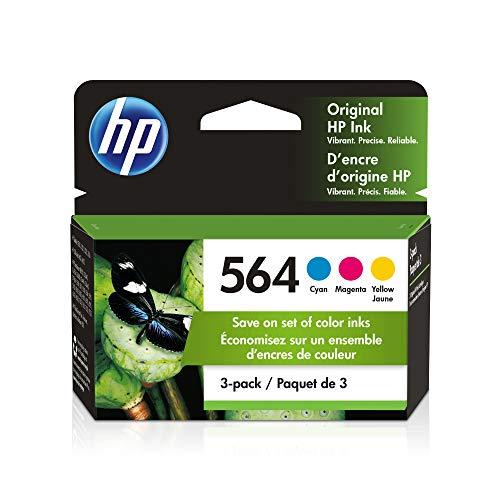HP 564 | 3 Ink Cartridges | Cyan, Magenta, Yellow | For HP DeskJet 3500 Series, HP OfficeJet 4600 5500 C6300 6500 7500 Series, B8550 D7560 C510 B209 B210 C309 C310 C410 C510 | CB318WN CB319WN CB320WN