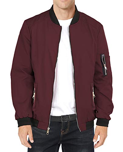 LAA NIHOW Mens Slim Fit Lightweight Jacket Softshell Flight Bomber Jackets Coat, Wine Red, Medium
