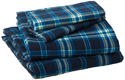 Pointehaven Flannel Deep Pocket Set with Oversized Flat Sheet, Queen, Ashby Plaid