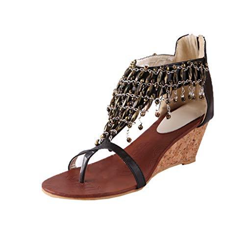 iLPM5 Damen Sommer Freizeit Sandalen Ethnic Style Clip Toe Fransen Sandalen Sandalen mit Keilabsatz Reißverschluss Schuhe(Schwarz,38)