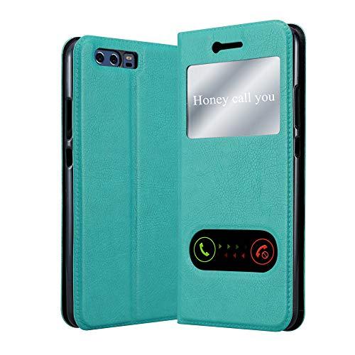 Cadorabo Hülle für Huawei P10 Plus in Mint TÜRKIS – Handyhülle mit Magnetverschluss, Standfunktion & 2 Sichtfenstern – Hülle Cover Schutzhülle Etui Tasche Book Klapp Style