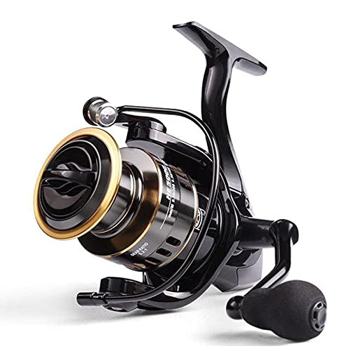 XHLLX Spool Spinning Reel Carp Reel Fishing HE1000-7000 10Kg Max Drag High Speed Metal Gear Best for Heavy Freshwater and Light Saltwater Use,Black Golden,HE5000