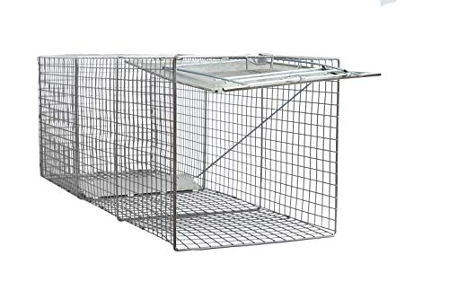 LifeSupplyUSA Large One Door Catch Release Heavy Duty Cage Live Animal Trap for Dogs, Foxes, Badgers, Coyotes, and Other Similar Sized Animals, 42'x15'x15'