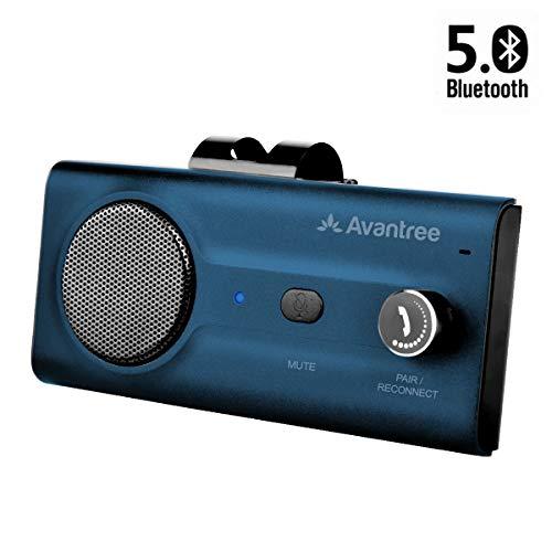 2020 Avantree CK11 Kfz Bluetooth 5.0 Freisprecheinrichtung Freisprechanlage Car-Kit für Sonnenblende, Lauter Lautsprecher, Siri Google Assistant Unterstützung, Lautstärkeregler, Bewegung Auto AN -Blau