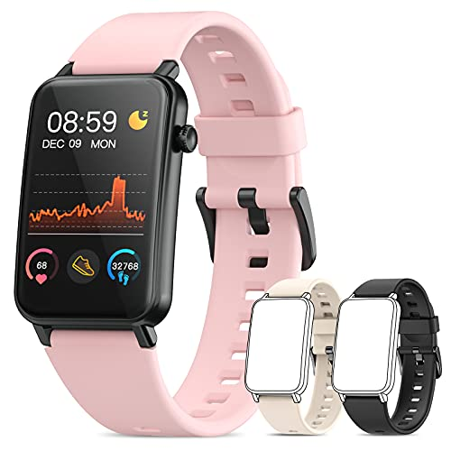 Smart Watch, NAIXUES 1.57'' Curved Screen Smartwatches for Android iOS Phones, Smart Watches for Men Women with 2 Extra Bands, Fitness Tracker with Heart Rate Monitor, IP68 Waterproof, Blood Oxygen