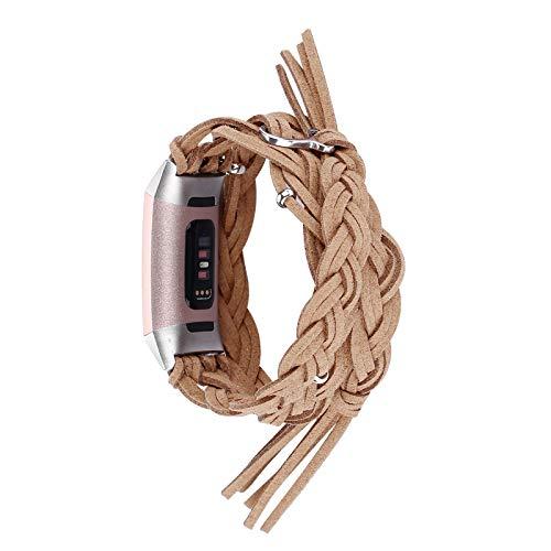 XIALEY Correa Compatible con Fitbit Charge 4/Charge 3, Pulseras De Repuesto De Correas De Cuero Genuino Suave Banda para Charge 3 /Charge 4 De Reloj De Fitness,Marrón