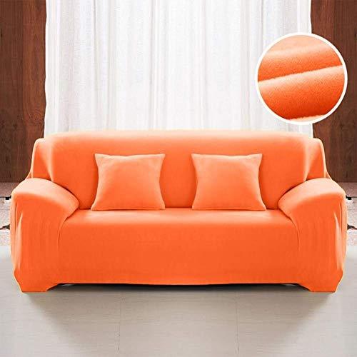 Jonist Funda de sofá de Terciopelo Grueso, Color Puro, Antideslizante y elástica para sofá, Funda de Tela elástica de fácil Ajuste para 1, 2, 3, 4 plazas, Naranja, Tres Asientos