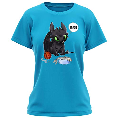Okiwoki - Maglietta da donna con scritta 'Parodie Dragon', con scritta in francese 'Un Vrai Dragon Domestique' blu turchese L