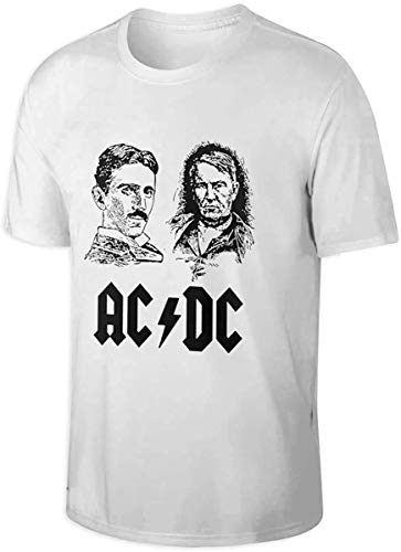 MaYouCong Camisetas y Tops Hombre Polos y Camisas, ACDC Edison Vs Tesla War of Currents Breathable Man'S Cotton Short Sleeve T-Shirt White