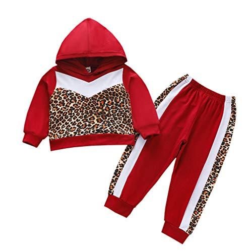 Moneycom❤Toddler Kids Baby Girls Sweat à Capuche imprimé léopard Tops Pantalons Tenues Ensemble Rouge(7-8 Ans)