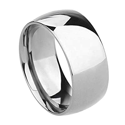 TIGRADE 2mm 4mm 6mm 8mm Titanium Ring Plain Dome High Polished Wedding Band Comfort Fit Size 3-15,10mm,Silver,Size 10