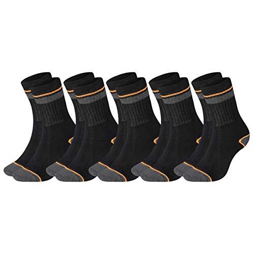 Black+Decker Herren Socken Heavy Fabric Crew 5er Pack Unisex Work Sport Arbeitssocken 39-42 43-46 47-49 50-52 Verstärkte Baumwolle Schwarz Grau, Größe:39-42, Farben:5 Paar Grey/Black