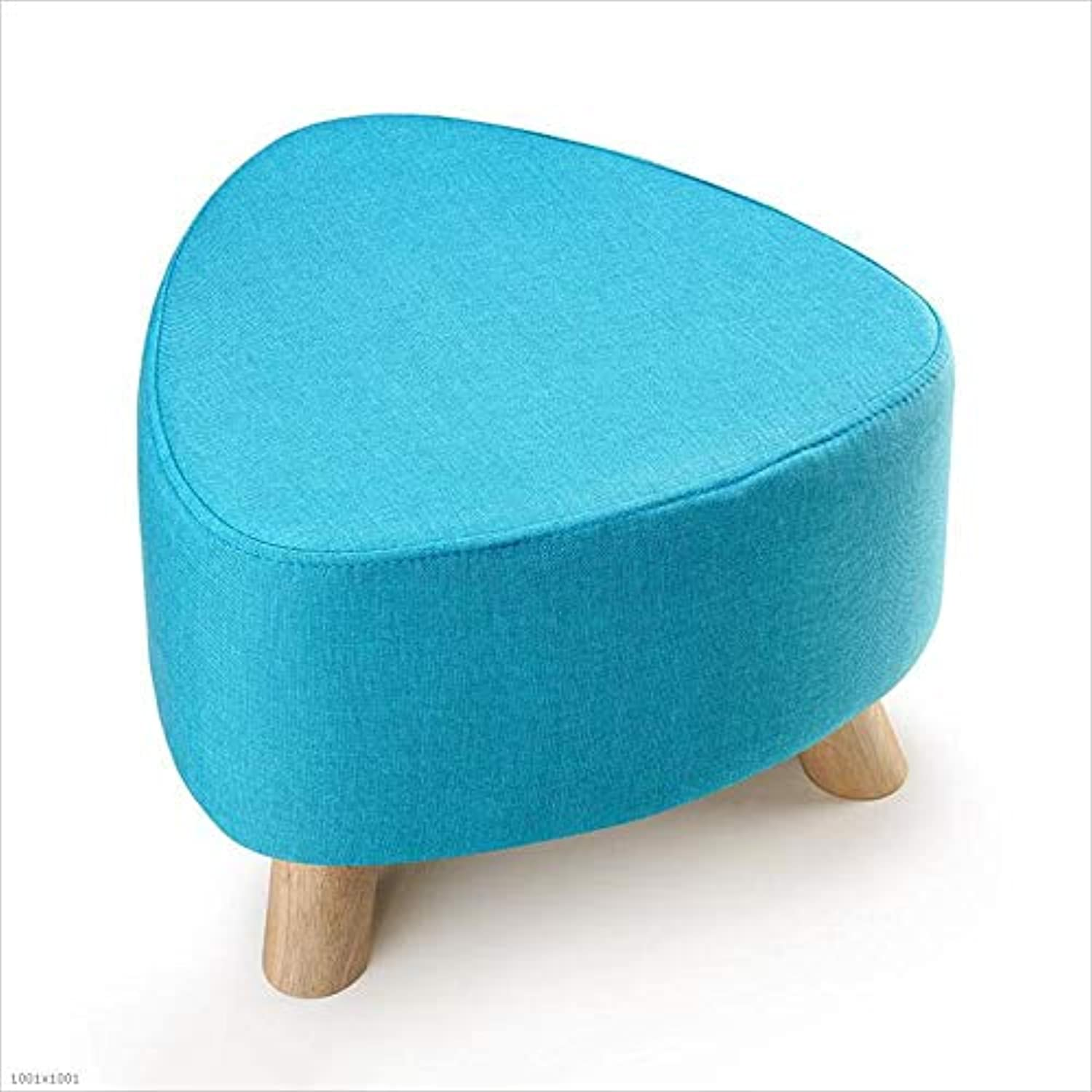 Solid Wood Legs 3 Foot Stools Upholstered Sofa Bench Living Room Corridor Single Seat Washable H  28Cm,bluee