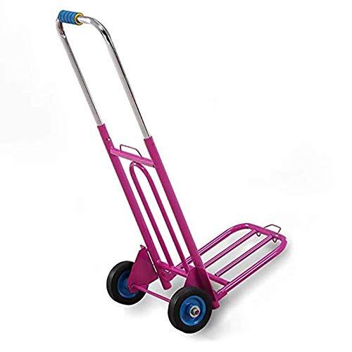 Ne jamais abandonner Chariot à Bagages Pliant Chariot Lourd Camion remorque Chariot à Bagages Chariot Portable (Color : Pink)