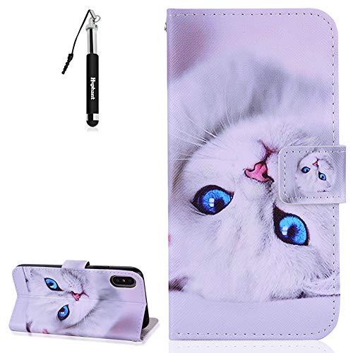 Huphant iPhone X/iPhone XS Hülle Schutzhülle Wallet Case iPhone X/iPhone XS Handytasche Kartenfächer Magnet Handyhülle Tasche Flip Wallet Ständer Etui Karten Slot Brieftasche -Weiße Katze