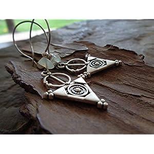✿ STATEMENT DREIECK & NATURSTEIN ✿ lange Ohrringe