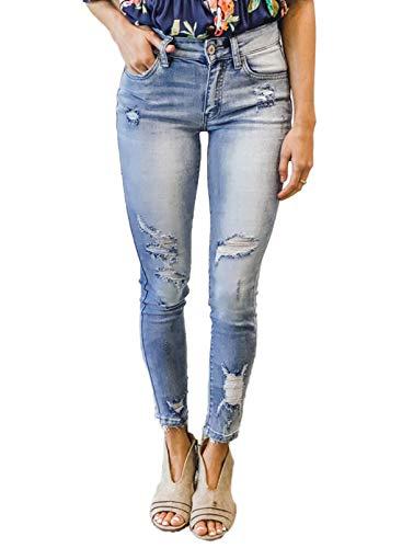 CORAFRITZ Pantalones vaqueros clásicos desgastados de talle medio para mujer