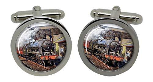 Un Train à vapeur Chrome Boutons de manchette pour homme avec coffret cadeau