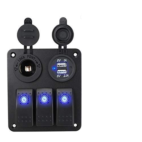 BJKKM Accesorios del Interior del Coche 2/3 de la cuadrilla 12~24V Interruptor Rocker Interruptor de Circuito del Panel Protector de Salida con Carga USB for Marine para Coche camión Barco au