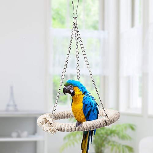 Pangding Juguete para Colgar pájaros, Soporte de Columpio de Cuerda de algodón Anillo de Escalera de Escalada Perchas de Cama Blanda para Loros Budgie