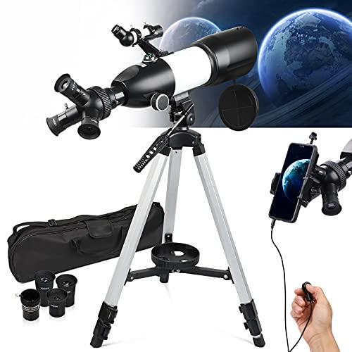 NOCOEX Télescope Portable pour Enfants, Adultes, Débutants Ouverture Améliorée de 80MM, Distance Focale de 400MM FMC Télescope d'astronomie avec Trépied Réglable, Adaptateur de Téléphone